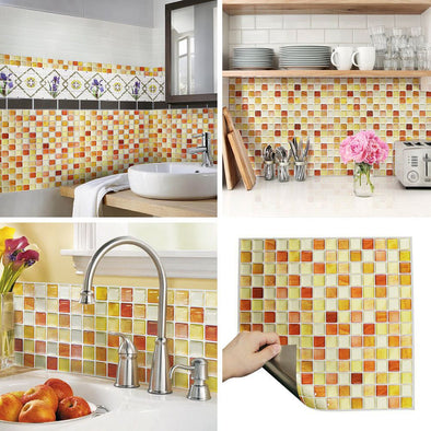 "3D Mosaic Tile Sticker-10"" x 10""(10 sheets)"