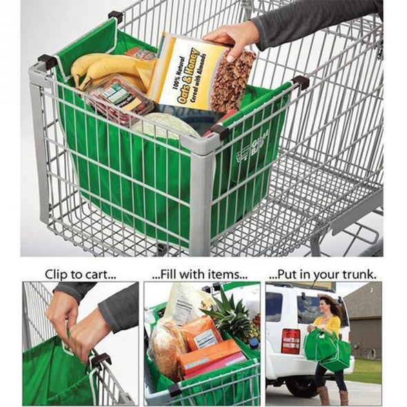Reusable Shopping Bag Clips to Shopping Cart