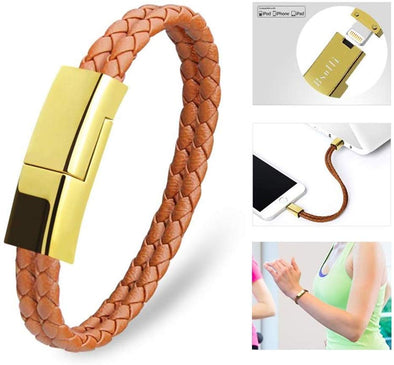 Portable Charging Cable Bracelet For iPhone/Android/Type C-Brown