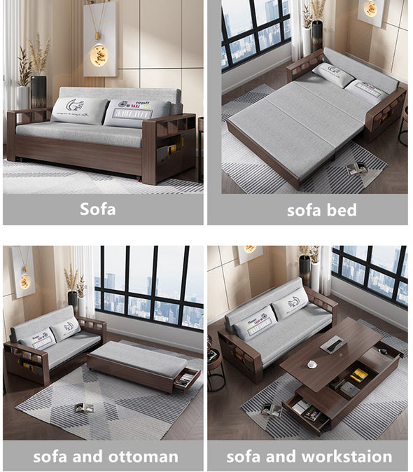Multifunciton and Space Saver Foldable and Expandable Sofa with Lifting Coffee Table