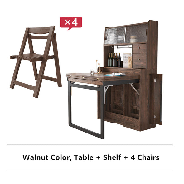 Solid Wood Folding Multifunctional Dining Table with Cabinet and Folding Chairs
