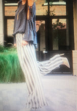 Navy stripe pants with elastic waistband