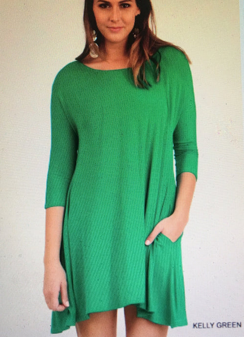 3/4 sleeve A-Line dress or top with pockets