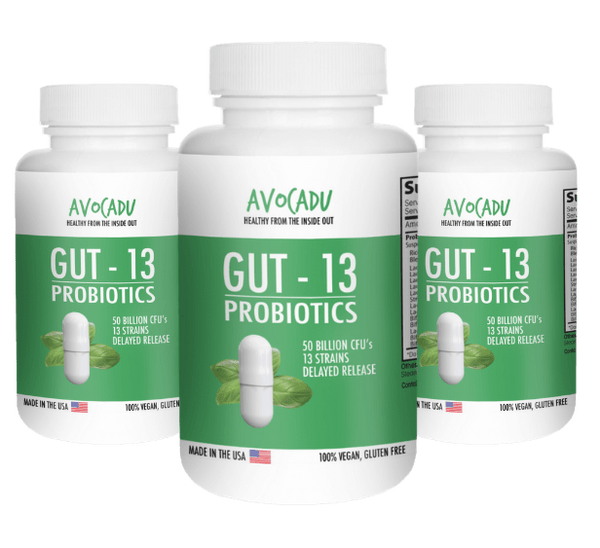 Gut-13 Triple- 3 bottles of the #1 Premium Probiotic with 50 Billion CFUs and 13 Different Live Strains + Delayed Release