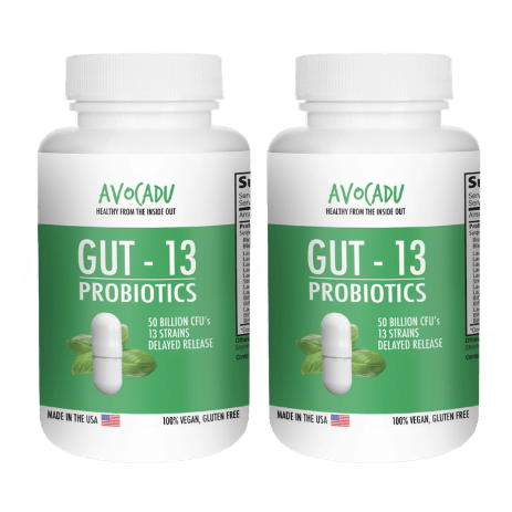 Gut-13 Double- 2 bottles of the #1 Premium Probiotic with 50 Billion CFUs and 13 Different Live Strains + Delayed Release