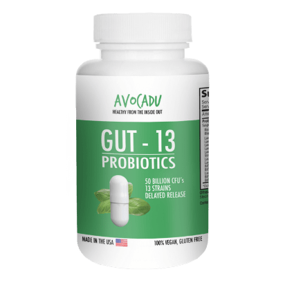 Gut-13 - #1 Premium Probiotic with 50 Billion CFUs and 13 Different Live Strains + Delayed Release