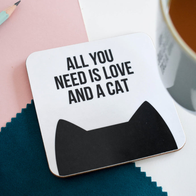 Love and cat(s) coaster