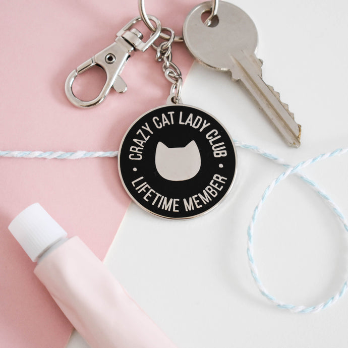 Crazy cat lady club enamel keyring