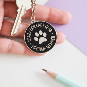Crazy dog lady club enamel keyring