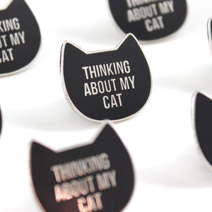 'Thinking about my cat' enamel pin