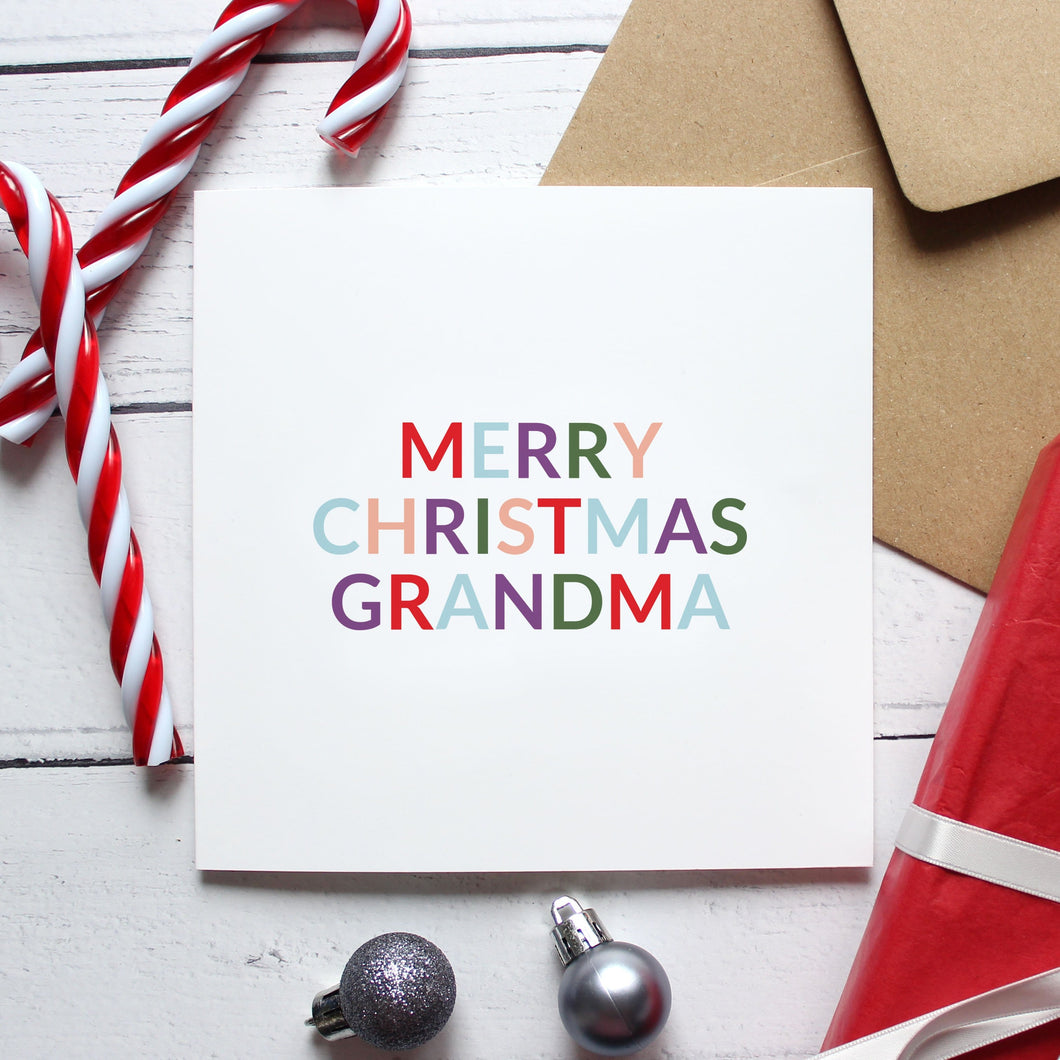 'Merry Christmas grandma' Christmas card