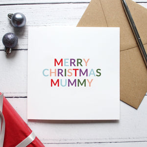 'Merry Christmas mum or mummy' Christmas card