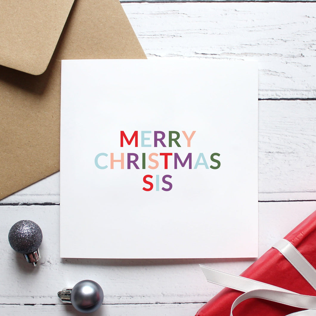 'Merry Christmas sis' Christmas card