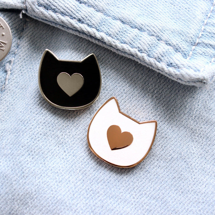 Cat with heart enamel pin