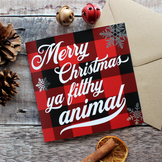 'Filthy animal' Christmas card
