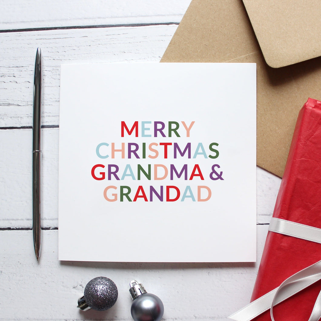 'Merry Christmas grandma and grandad' Christmas card