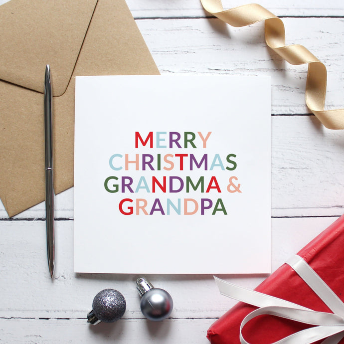 'Merry Christmas grandma and grandad/grandpa' Christmas card