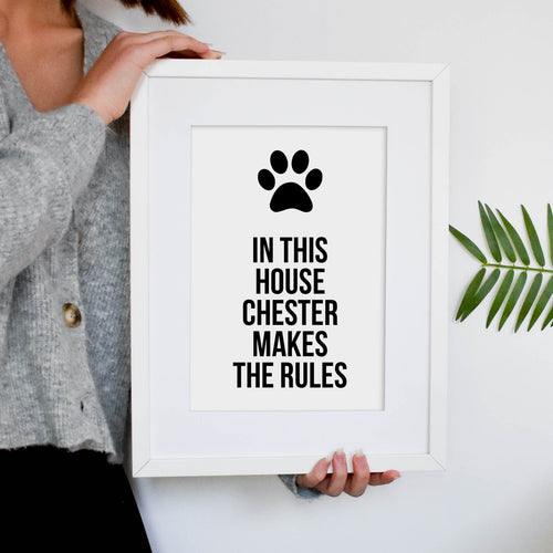 Personalised 'In this house' dog print