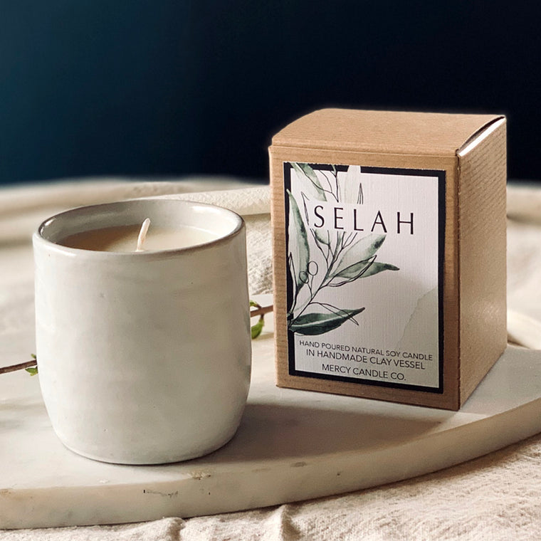 SELAH - 08oz soy candle in handmade clay vessel