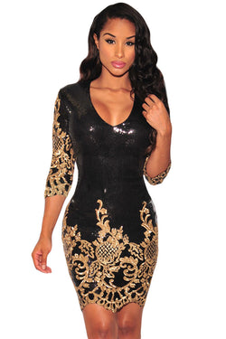 Women Sexy Club Dresses Vintage Style Deep V Sequins 3/4 Sleeves Bodycon Dress. Dress to Impress - PIBBO