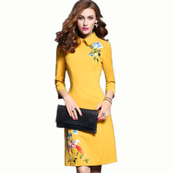 Spring Womens Fashion Doll Collar Embroidered Slim Casual Party Evening Dress - PIBBO