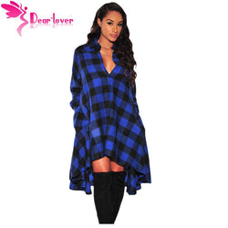 Plaid Dresses Women Work Wear Fashion Blue Black Flared High Low Blouse Dress for the casual occasion - PIBBO