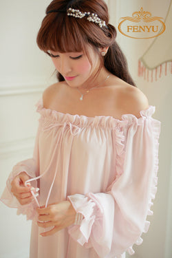 Feel Like A Celebrity in This Chiffon Nightgown  Long Pajamas Two Color Princess Sleepwear Pink and White Nightshirt Long Robe - PIBBO