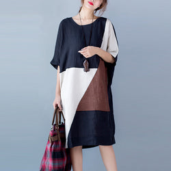 Summer Fashion Arts Style Women Short sleeve Loose Casual Long Dress Cotton Patchwork linen V - PIBBO