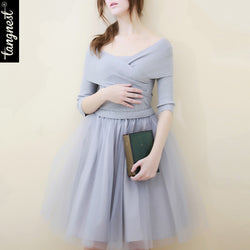 Women Knitted Dress Spring Party Dresses Patchwork Mesh Voile Ball Gown