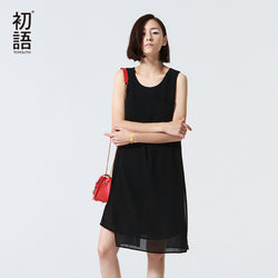 Women Summer Dress Fashion Solid Sleeveless Chiffon Party Dress Black ,white and red in Color - PIBBO