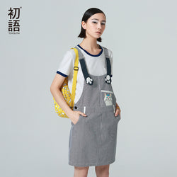 Youthfull Summer Women Suspender Dress Striped Cat Print Casual Dress  Knee-Length Straight Dress - PIBBO
