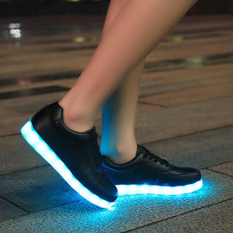 New 2016 8 Colors LED Luminous Shoes Unisex Led Shoes for Adults Men&Women Glowing Shoes USB Charging Light chaussure lumineuse - PIBBO