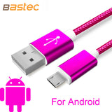 Bastec USB Data Charger Cable Nylon Braided Wire Metal Plug Micro USB Cable for iPhone 6 6s Plus 5s 5 iPad mini Samsung Sony HTC - PIBBO