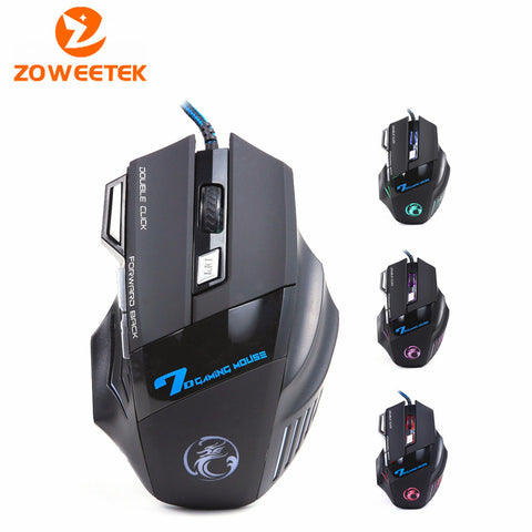 Zoweetek ESTONE X7 NEW 5500 DPI USB Wired Mouse Mice LED Optical Gaming Mouse Mice computer mouse 7 Button 3D Scroll Wheel Black - PIBBO