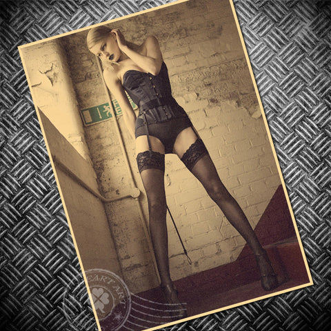 Stockings beauty Vintage posters Sexy lady movie poster retro wall art sticker painting bar cafe pub house print picture 42x30cm - PIBBO