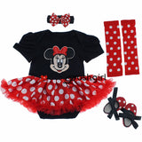 Gowns Baby Rompers Baby Girl's Minnie Mickey Dress Bodysuit Lace 4pcs sets 2017 New Born Autumn Bebe Clothing Infant Clothes - PIBBO