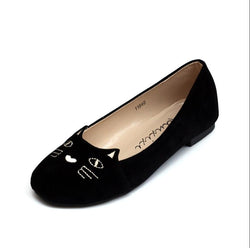 Hot Star Shoes 2016 New Black Brand Female Flat Shoes Women Fashion Cats Embroidery Flats Suede PU Plus size Casual Shoes Woman - PIBBO