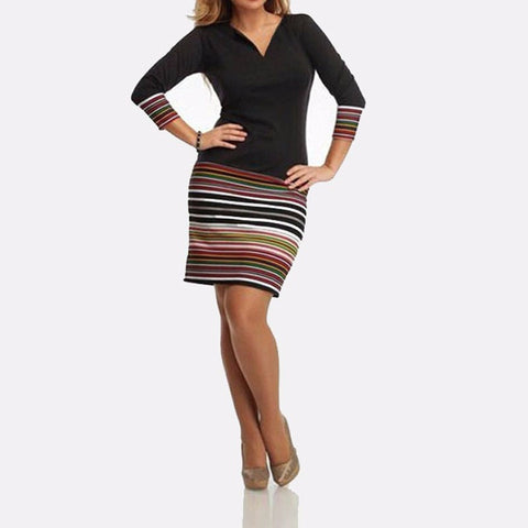 Women Spring Sexy Bodycon Dress Long Sleeve V-neck Color Striped Shaped Hip Patchwork Party Mini Dresses - PIBBO