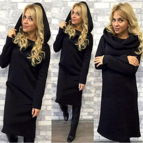 Fashion Spring Dress of Several  Colors S-XL Hooded Fleece Long Sleeve Warm Solid Color - PIBBO