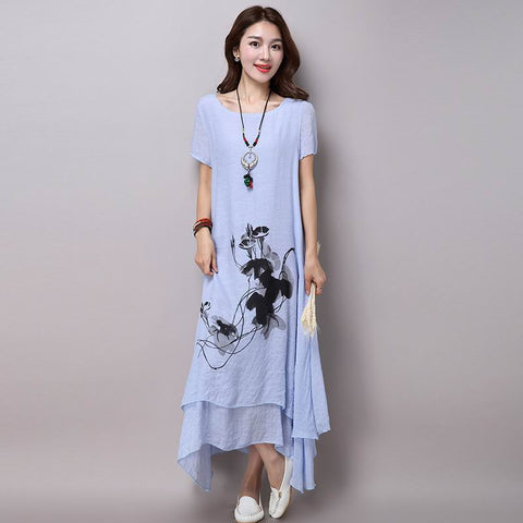 Cotton linen plus size vintage print women casual loose long summer dress