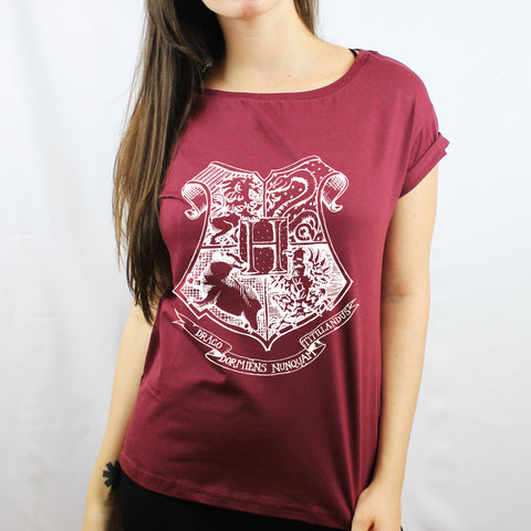 Camiseta Feminina Hogwarts Branco - Harry Potter
