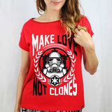Camiseta Feminina Make Love not Clones - Star Wars - Loja Geek Blackat Store
