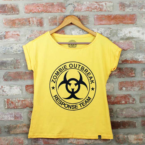 Camiseta Feminina Zombie Outbreak Amarelo- The Walking Dead - Loja Geek Blackat Store