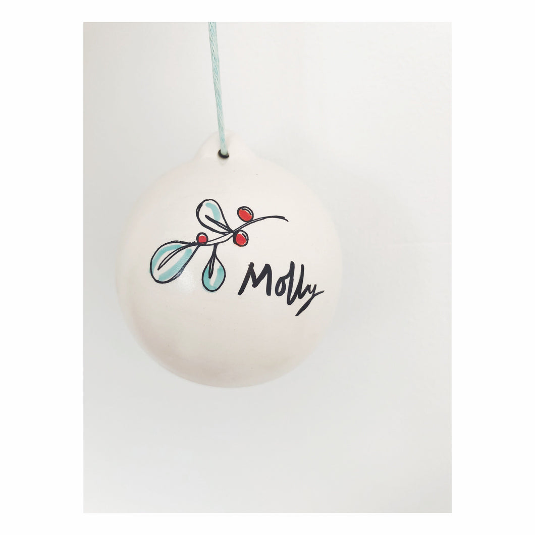 'Mistletoe' Illustrated Bauble
