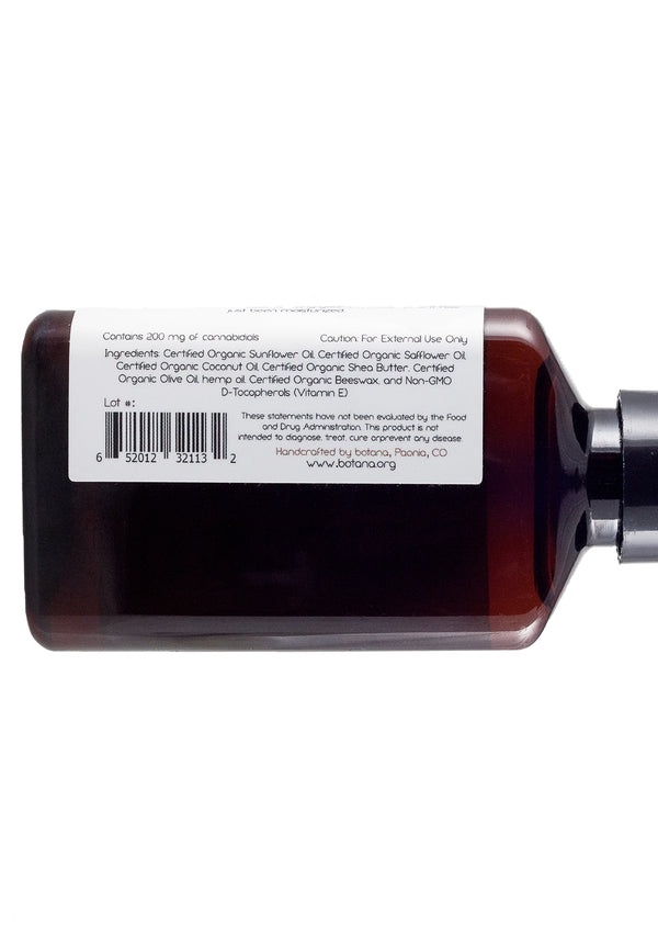 Fragrance Free Massage Oil - 200mg - Botana CBD