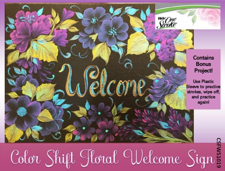 Color Shift Floral Welcome Sign Packet