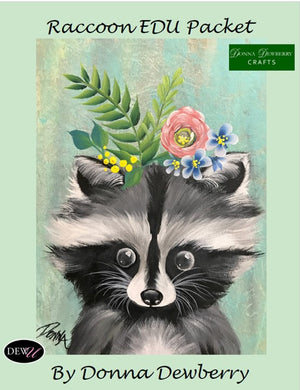 EDU Packets (Painting Parties) Floral Raccoon