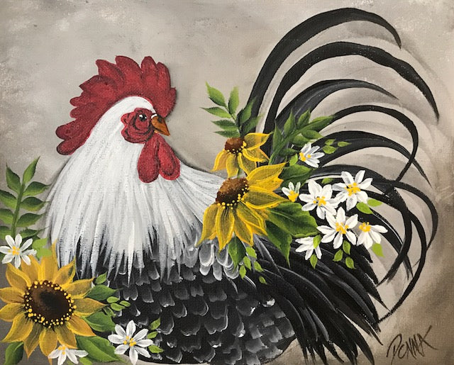 Vintage Floral Animal - Rooster Downloadable Video Lesson