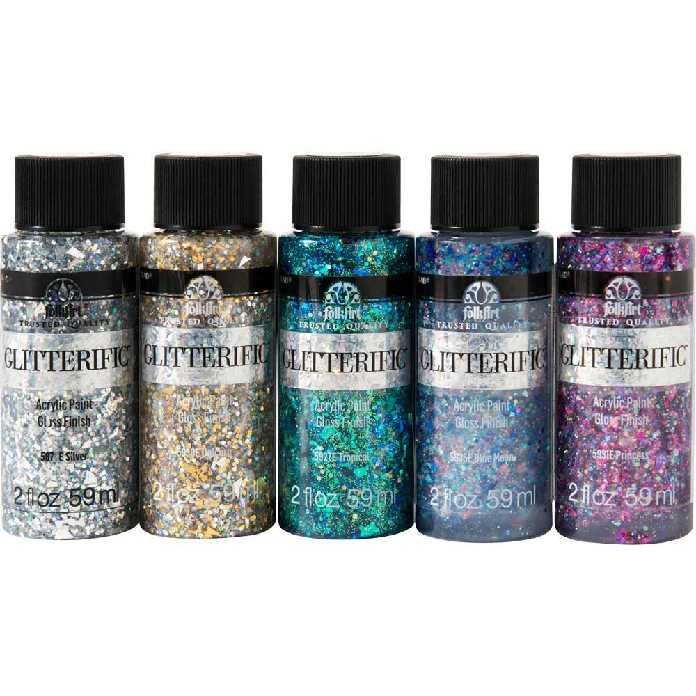 PromoFAGL01 FolkArt Glitterific Glam Basics 5pc 2 oz Paint Set