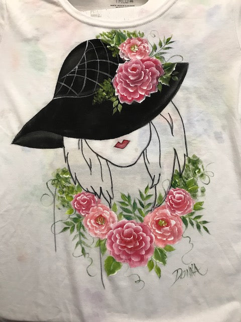 Fabric Painting Lady With Hat Shirt Downloadable Video Lesson Dewberry U